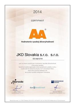 Certifikát AA